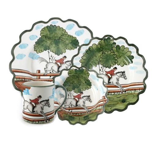 C.E. Corey Perfect Day 4pc Place Setting  Clear skies and wide-open country—what a perfect day for a ride!  Complete with scalloped edges, these handmade, hand-painted hunt scenes are perfect for any horse lover.   Dishwasher and microwave safe. Made in Portugal for CE Corey.  Includes a Dinner Plate, Salad Plate, Cereal Bowl, and Mug.  CPD4000