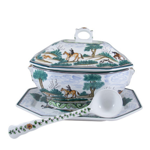 """C.E. Corey Century Hunt Octagonal Soup Tureen Set  A truly magnificent and whimsical fox hunt scene. The pattern is done using the Century-Style Painting technique developed by artisans in Portugal. Each piece is a true work of art, handmade, hand-painted and signed.  Set includes tureen with lid, 15"""" x 12"""" platter and ladle. CCH4012"""