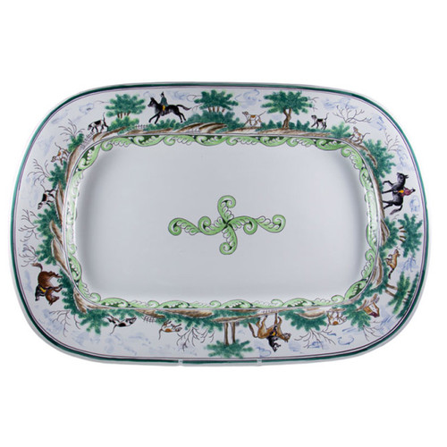 """C.E. Corey Century Hunt Octagonal 20"""" Platter  A truly magnificent and whimsical fox hunt scene. The pattern is done using the Century-Style Painting technique developed by artisans in Portugal. Each piece is a true work of art, handmade, hand-painted and signed.  20""""L CCH4011"""
