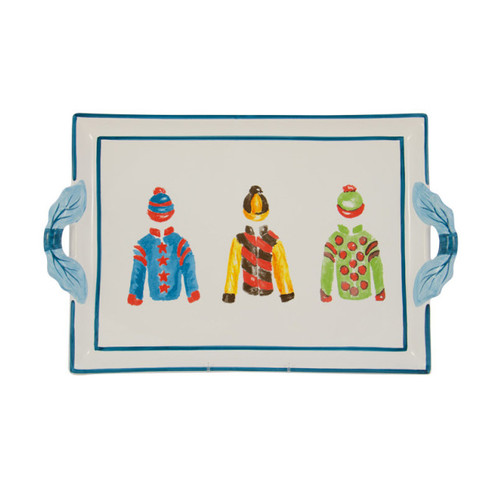 """C.E. Corey Jockey Handled Platter  An array of racing silks against a white base and trimmed in bright blue. Designed for everyday use, made of high-fired porcelain, lead free, microwave and dishwasher safe. Hand-decorated in Portugal for CE Corey.  16.25""""L, 11.5""""W  CJS4010"""