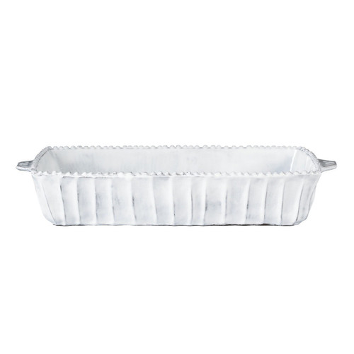 """Inspired by Italian art, architecture, and history, the Incanto White Stripe Medium Rectangular Baking Dish is oven-safe and handmade of terra marrone in Tuscany. 16""""L, 8""""W, 3""""H INC-1161"""
