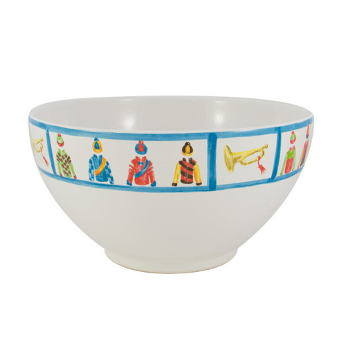 """C.E. Corey Jockey Serving Bowl  An array of racing silks against a white base and trimmed in bright blue. Designed for everyday use, made of high-fired porcelain, lead free, microwave and dishwasher safe. Hand-decorated in Portugal for CE Corey.  11"""" Diameter, 6""""H  CJS4007"""