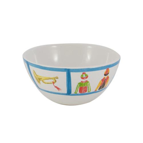 "C.E. Corey Jockey Cereal Bowl  An array of racing silks against a white base and trimmed in bright blue. Designed for everyday use, made of high-fired porcelain, lead free, microwave and dishwasher safe. Hand-decorated in Portugal for CE Corey.  6"" Diameter  CJS4004"