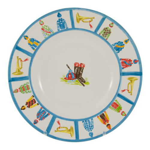 "C.E. Corey Jockey Dinner Plate  An array of racing silks against a white base and trimmed in bright blue. Designed for everyday use, made of high-fired porcelain, lead free, microwave and dishwasher safe. Hand-decorated in Portugal for CE Corey.  10.5"" Diameter  CJS4001"