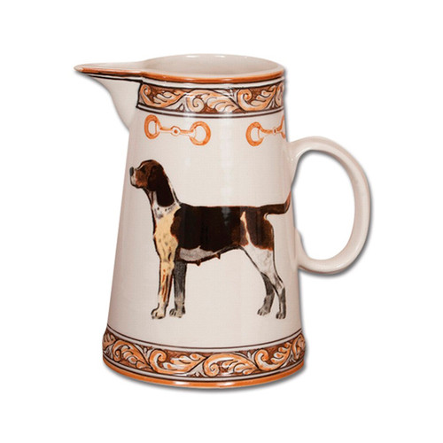 "C.E. Corey Heritage Hounds Pitcher  This stately china pattern celebrates the legacy and heritage of foxhunting. The pride of the pack, a black and tan foxhound is featured in the center. Bordered in snaffle bits and a rich brown and tan leaf motif. Designed for everyday use, it is high-fired porcelain, lead free, microwave and dishwasher safe. Hand-painted and hand-decorated in Portugal for C.E. Corey.   8.5""H, 8""W  CHH4007"