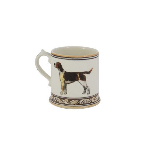 "C.E. Corey Heritage Hounds Mug  This stately china pattern celebrates the legacy and heritage of foxhunting. The pride of the pack, a black and tan foxhound is featured in the center. Bordered in snaffle bits and a rich brown and tan leaf motif. Designed for everyday use, it is high-fired porcelain, lead free, microwave and dishwasher safe. Hand-painted and hand-decorated in Portugal for C.E. Corey.   4""H CHH4005"