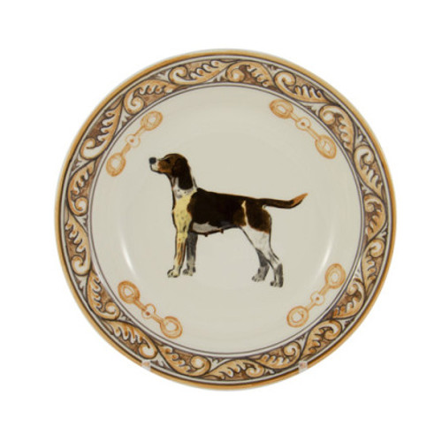 C.E. Corey Heritage Hounds Soup Bowl  This stately china pattern celebrates the legacy and heritage of foxhunting. The pride of the pack, a black and tan foxhound is featured in the center. Bordered in snaffle bits and a rich brown and tan leaf motif. Designed for everyday use, it is high-fired porcelain, lead free, microwave and dishwasher safe. Hand-painted and hand-decorated in Portugal for C.E. Corey.   CHH4003