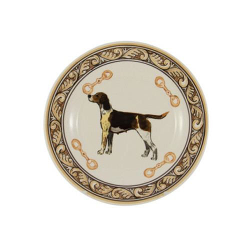 "C.E. Corey Heritage Hounds Salad Plate  This stately china pattern celebrates the legacy and heritage of foxhunting. The pride of the pack, a black and tan foxhound is featured in the center. Bordered in snaffle bits and a rich brown and tan leaf motif. Designed for everyday use, it is high-fired porcelain, lead free, microwave and dishwasher safe. Hand-painted and hand-decorated in Portugal for C.E. Corey.   8.5"" Diameter  CHH4002"