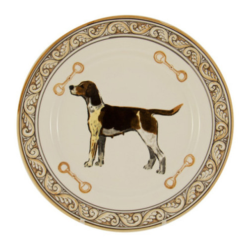 "C.E. Corey Heritage Hounds Dinner Plate  This stately china pattern celebrates the legacy and heritage of foxhunting. The pride of the pack, a black and tan foxhound is featured in the center. Bordered in snaffle bits and a rich brown and tan leaf motif. Designed for everyday use, it is high-fired porcelain, lead free, microwave and dishwasher safe. Hand-painted and hand-decorated in Portugal for C.E. Corey.   11"" Diameter  CHH4001"