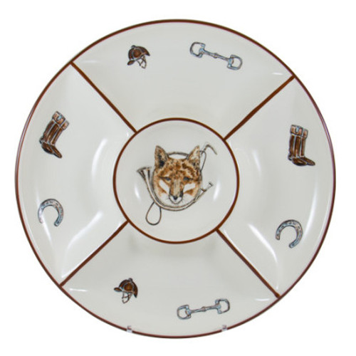 """C.E. Corey Fox & Horn Chip and Dip  Everyday tableware & serveware features a fox and horn design bordered by an equestrian theme including hunting horns, boots, horseshoes and bits. Trimmed in rich brown.  CFH4011  15""""D, 2""""H"""