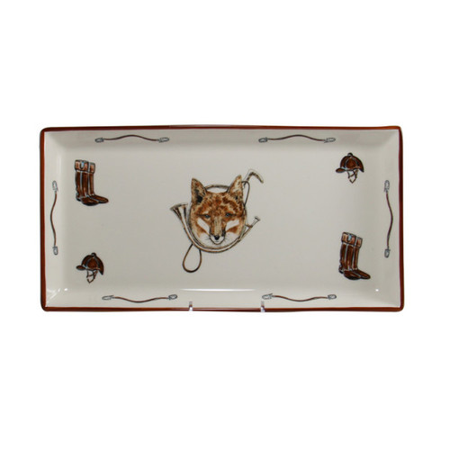 """C.E. Corey Fox & Horn Tart Tray  Everyday tableware & serveware features a fox and horn design bordered by an equestrian theme including hunting horns, boots, horseshoes and bits. Trimmed in rich brown.  CFH4009  14"""" x 7"""""""