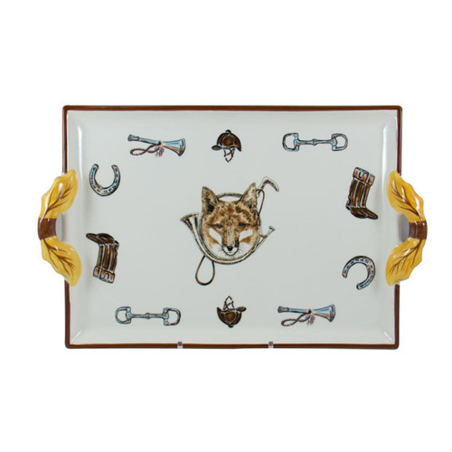 """C.E. Corey Fox & Horn Handled Tray  Everyday tableware & serveware features a fox and horn design bordered by an equestrian theme including hunting horns, boots, horseshoes and bits. Trimmed in rich brown.  CFH4008  16.5"""" x 10.5"""""""