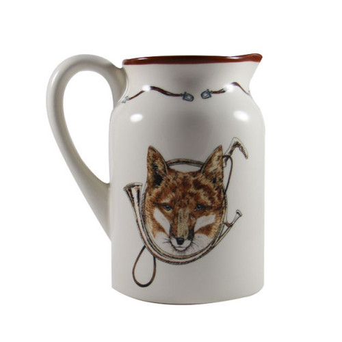 """C.E. Corey Fox & Horn Pitcher  Everyday tableware & serveware features a fox and horn design bordered by an equestrian theme including hunting horns, boots, horseshoes and bits. Trimmed in rich brown.  CFH4006  7.75""""H"""