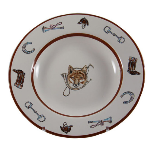"""C.E. Corey Fox & Horn Rimmed SOup Bowl  Everyday tableware & serveware features a fox and horn design bordered by an equestrian theme including hunting horns, boots, horseshoes and bits. Trimmed in rich brown.  CFH4005  9.5"""" Diameter"""