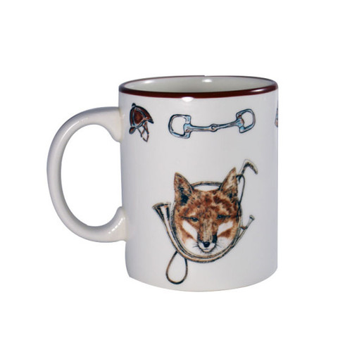 """C.E. Corey Fox & Horn Mug  Everyday tableware & serveware features a fox and horn design bordered by an equestrian theme including hunting horns, boots, horseshoes and bits. Trimmed in rich brown.  CFH4004  4""""H"""