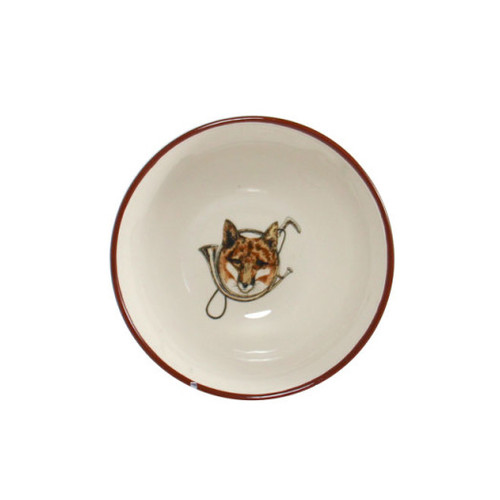 "C.E. Corey Fox & Horn Cereal Bowl  Everyday tableware & serveware features a fox and horn design bordered by an equestrian theme including hunting horns, boots, horseshoes and bits. Trimmed in rich brown.  CFH4003  6"" Diameter, 3""H"