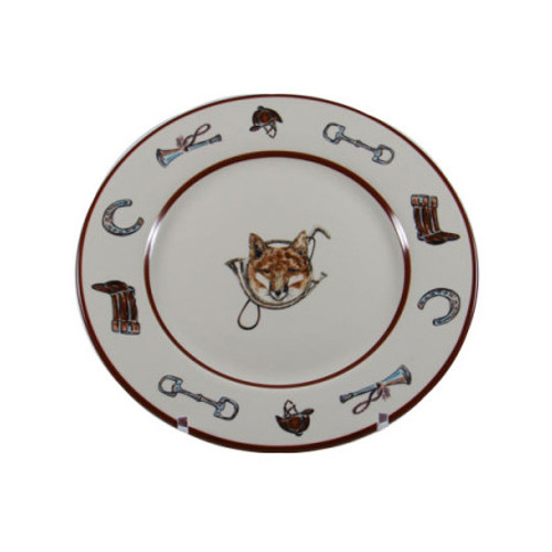 """C.E. Corey Fox & Horn Salad/Dessert Plate  Everyday tableware & serveware features a fox and horn design bordered by an equestrian theme including hunting horns, boots, horseshoes and bits. Trimmed in rich brown.  CFH4002  8.5"""" Diameter"""