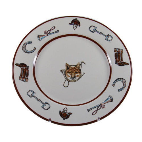 """C.E. Corey Fox & Horn Dinner Plate  Everyday tableware & serveware features a fox and horn design bordered by an equestrian theme including hunting horns, boots, horseshoes and bits. Trimmed in rich brown.  CFH4001  10.5"""" Diameter"""