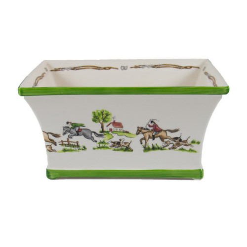 "C.E. Corey The Chase Planter  The Chase Rectangular Planter is made by fine craftsman in Portugal. Hand-decorated with a beautiful foxhunting scene, it can be used for plants or as an eye-catching center piece for any table.  CTC4011  11""L, 7""W, 6""H"