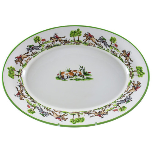 """C.E. Corey The Chase Oval Platter  The Chase platter 18"""" is handmade and signed by talented craftsman in Portugal for CE Corey. It makes the perfect addition to the suggested place setting of the Chase collection's 11"""" dinner plate, 9"""" salad plate, 6"""" soup (or cereal) bowl and 11 oz. mug.  18""""L CTC4009"""