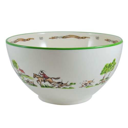 """C.E. Corey The Chase 12"""" Serving Bowl  The Chase serving bowl 12"""" adds a lively and spirited addition to any tabletop. It's the perfect choice for the Hunting sport with its timeless design of hand decorated and hand painted delightful images.  CTC4007 12"""" Diameter, 6.5""""H"""