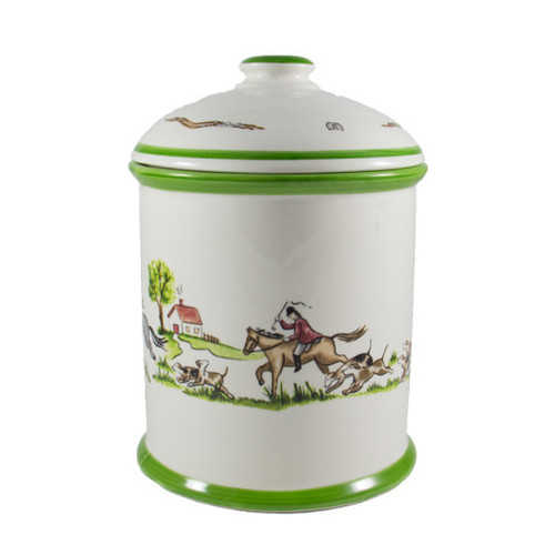 """C.E. Corey The Chase Canister  The Chase Canister is a lovely and spirited addition to any countertop. The hand-decorated, porcelain canister features an exquisite depiction of a foxhunting scene. The lid is adorned with bridles, horse shoes and a beautiful green rim.  CTC4006 9.5""""H, 7""""D"""