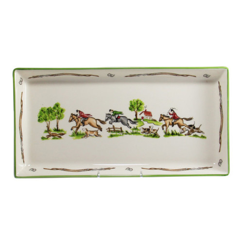 "C.E. Corey The Chase Tart Tray  The Chase Tart Tray is beautiful for everyday use. The rectangular piece is constructed of high-fired porcelain, which is hand-decorated with images of a fox hunt across the surface. It is made by fine craftsman in Portugal.  CTC4008 13""L, 6.5""W"