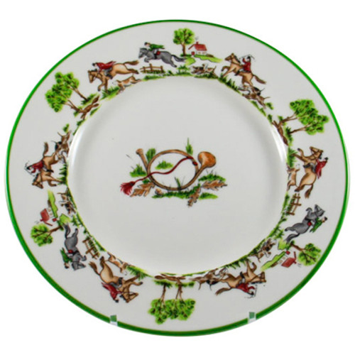 """C.E. Corey The Chase Dinner Plate  The Chase - beautiful dinnerware for everyday use. High fired porcelain hand-decorated with delightful images of riders, hounds and of course the fox pursuing a great chase around the rim and a hunting horn motif in center. Microwave and dishwasher safe. From the studio of C.E. Corey, made by fine craftsman in Portugal. 11"""" dia.  CTC4001"""