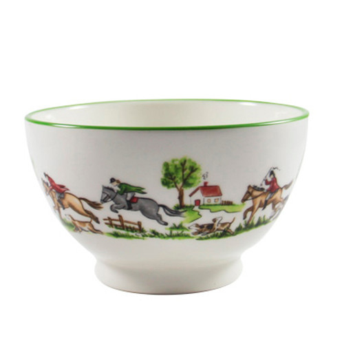"C.E. Corey The Chase Cereal Bowl  The Chase - beautiful dinnerware for everyday use. High fired porcelain hand-decorated with delightful images of riders, hounds and of course the fox pursuing a great chase around the rim of bowl and cap, crop and boot motif in the center bottom. Great for soups or breakfast cereal. Microwave and dishwasher safe. Made by fine craftsman in Portugal. 6"" dia.  CTC4003"