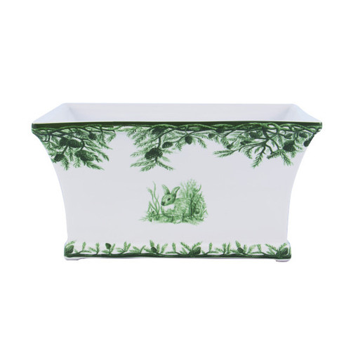 "C.E. Corey Forest Planter  Perfect for casual or upscale dining, this high-fired, handmade porcelain collection features a forest scene of a proud buck standing tall amidst pine-cones in tones of green and will bring to life any table setting.  CEF-4021 11"" x 7"" x 5.75""H"