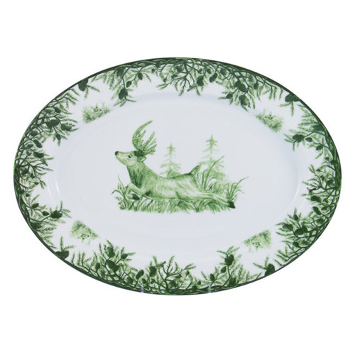 """C.E. Corey Forest Large Oval Platter  Perfect for casual or upscale dining, this high-fired, handmade porcelain collection features a forest scene of a proud buck standing tall amidst pine-cones in tones of green and will bring to life any table setting.  CEF-4020 18.5' x 15.5"""""""
