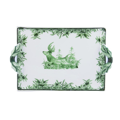 """C.E. Corey Forest Handled Tray  Perfect for casual or upscale dining, this high-fired, handmade porcelain collection features a forest scene of a proud buck standing tall amidst pine-cones in tones of green and will bring to life any table setting.  CEF-4018 16.5L, 10.5""""W"""