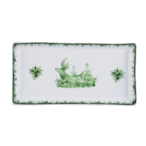 """C.E. Corey Forest Tart Tray  Perfect for casual or upscale dining, this high-fired, handmade porcelain collection features a forest scene of a proud buck standing tall amidst pine-cones in tones of green and will bring to life any table setting.  CEF-4017 13""""L, 6.5""""W"""