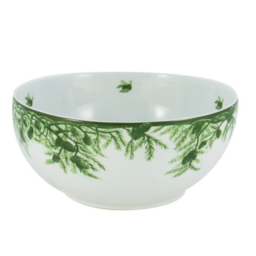 """C.E. Corey Forest Serving Bowl  Perfect for casual or upscale dining, this high-fired, handmade porcelain collection features a forest scene of a proud buck standing tall amidst pine-cones in tones of green and will bring to life any table setting.  CEF-4015 10"""" Diameter"""