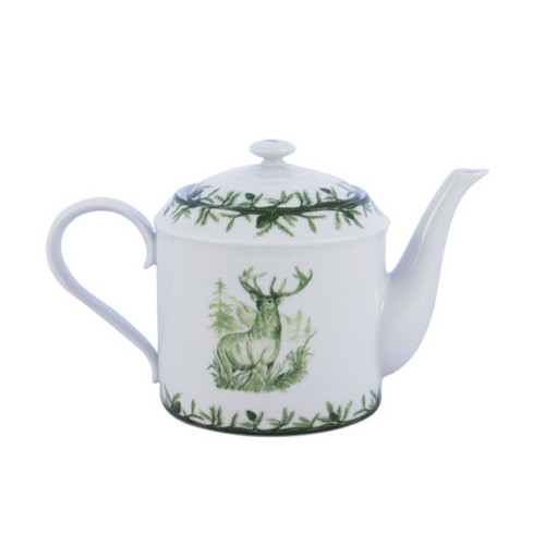 """C.E. Corey Forest Teapot  Perfect for casual or upscale dining, this high-fired, handmade porcelain collection features a forest scene of a proud buck standing tall amidst pine-cones in tones of green and will bring to life any table setting.  CEF-4014 6""""H, 10""""L, 5""""W"""