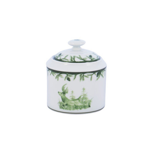 """C.E. Corey Forest Sugar Bowl  Perfect for casual or upscale dining, this high-fired, handmade porcelain collection features a forest scene of a proud buck standing tall amidst pine-cones in tones of green and will bring to life any table setting.  CEF-4012  3.75""""H"""