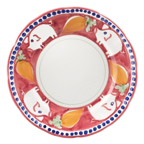 """The colorful Vietri Solimene Campagna Porco Dinner Plate features whimsical handpainted pigs and carrots.  Made in Italy.   10""""D POR-1000N"""