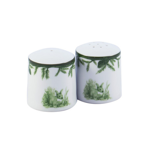 """C.E. Corey Forest Salt & Pepper Shaker Set  Perfect for casual or upscale dining, this high-fired, handmade porcelain collection features a forest scene of a proud buck standing tall amidst pine-cones in tones of green and will bring to life any table setting.  CEF-4010  2.25""""H"""