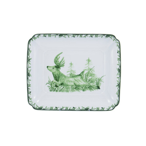"""C.E. Corey Forest Square Dish  Perfect for casual or upscale dining, this high-fired, handmade porcelain collection features a forest scene of a proud buck standing tall amidst pine-cones in tones of green and will bring to life any table setting.  CEF-4009  9"""" Square 2""""H"""