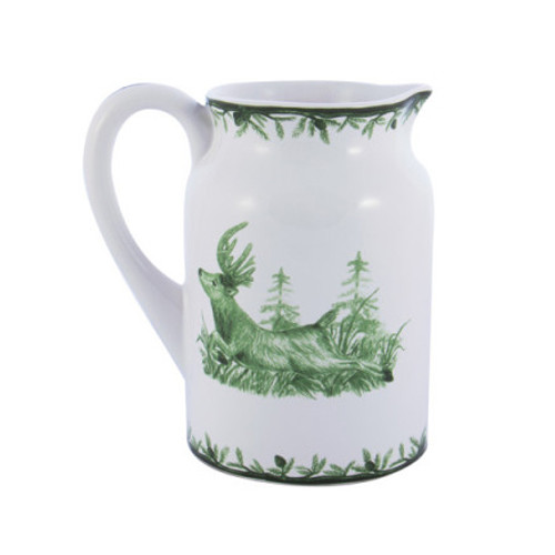 "C.E. Corey Forest Pitcher  Perfect for casual or upscale dining, this high-fired, handmade porcelain collection features a forest scene of a proud buck standing tall amidst pine-cones in tones of green and will bring to life any table setting.  CEF-4008  8""H"