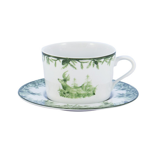 "C.E. Corey Forest 11oz Cup & Saucer  Perfect for casual or upscale dining, this high-fired, handmade porcelain collection features a forest scene of a proud buck standing tall amidst pine-cones in tones of green and will bring to life any table setting.  CEF-4007  11 oz. cup sits on 6.5"" dia. saucer."