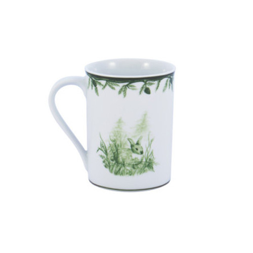 "C.E. Corey Forest Mug  Perfect for casual or upscale dining, this high-fired, handmade porcelain collection features a forest scene of a proud buck standing tall amidst pine-cones in tones of green and will bring to life any table setting.  CEF-4006  4""H"