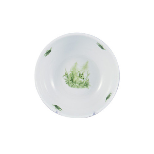 "C.E. Corey Forest Cereal Bowl  Perfect for casual or upscale dining, this high-fired, handmade porcelain collection features a forest scene of a proud buck standing tall amidst pine-cones in tones of green and will bring to life any table setting.  CEF-4005  6"" Diameter"