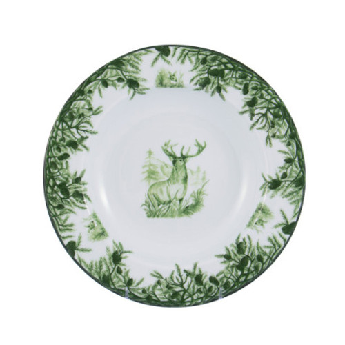 """C.E. Corey Forest Rim Soup Bowl  Perfect for casual or upscale dining, this high-fired, handmade porcelain collection features a forest scene of a proud buck standing tall amidst pine-cones in tones of green and will bring to life any table setting.  CEF-4004  9"""" Diameter"""