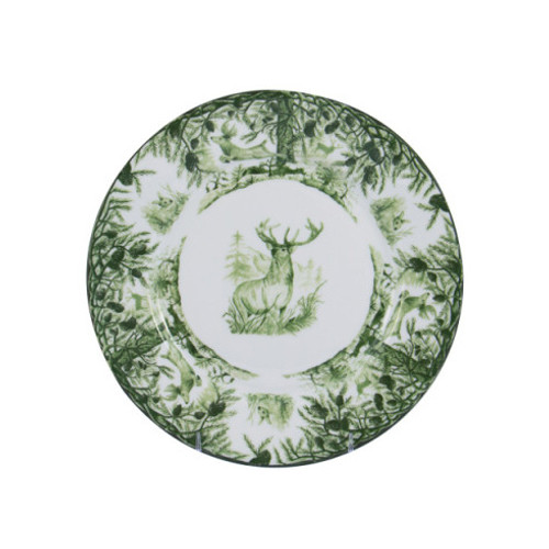 "C.E. Corey Forest Dessert/Salad Plate  Perfect for casual or upscale dining, this high-fired, handmade porcelain collection features a forest scene of a proud buck standing tall amidst pine-cones in tones of green and will bring to life any table setting.  CEF-4003  8"" Diameter"