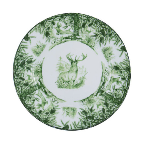 "C.E. Corey Forest Dinner Plate  Perfect for casual or upscale dining, this high-fired, handmade porcelain collection features a forest scene of a proud buck standing tall amidst pine-cones in tones of green and will bring to life any table setting.  CEF-4002  10.75"" Diameter"
