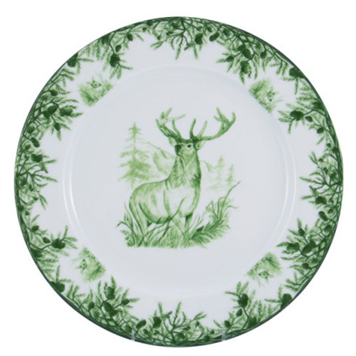 "C.E. Corey Forest Charger Plate  Perfect for casual or upscale dining, this high-fired, handmade porcelain collection features a forest scene of a proud buck standing tall amidst pine-cones in tones of green and will bring to life any table setting.  CEF-4001  12"" Diameter"