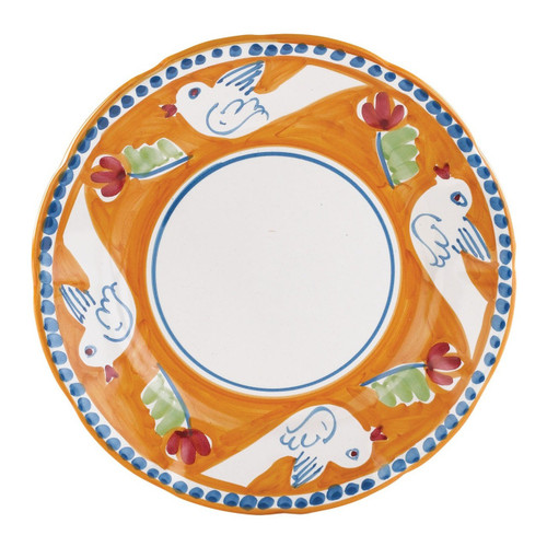 """The colorful orange and blue Vietri Solimene Campagna Uccello Dinner Plate features whimsical handpainted birds and flowers. Mix with other animals from the Campagna collection to create a fun table that captures the vitality of the Italian countryside!   10""""D UCC-1000"""
