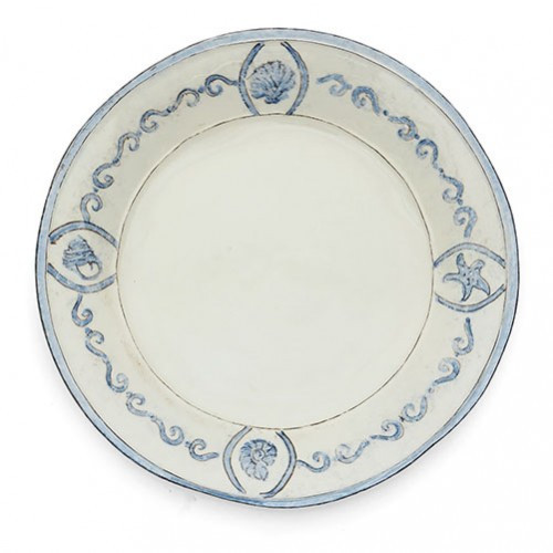 """Our Venezia is named for the Italian city of Venice, know for its canals and waterways. Venezia is reminiscent of this amazing city with its scroll border and coastal feel. Mix with our Burano Collection to create a full dinnerware collection or layer as accents. Italian ceramic. Hand made in Italy.  Dishwasher safe on the low heat setting, microwavable, may get hot.  Dimensions: 15"""" D SKU: VEN6818"""