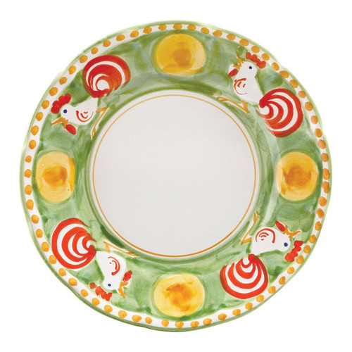 """The Vietri Solimene Campagna Gallina Dinner Plate features whimsical handpainted roosters and is from our flagship dinnerware collection, Campagna.   10""""D GNA-1000"""